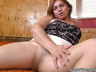 Latina milf Allison works her nyloned cunt with sex toys