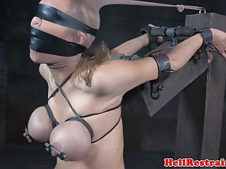 Bound slave caned after water punishment