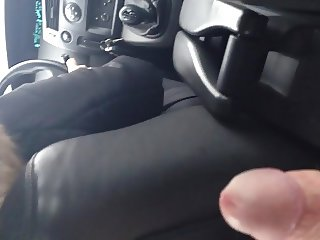 Jerk off while moms friend is driving the car