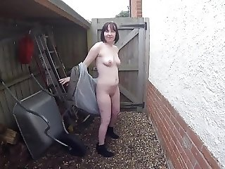 UK wife Striptease Outdoors in the yard