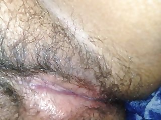 Playing with wife's hairy pussy