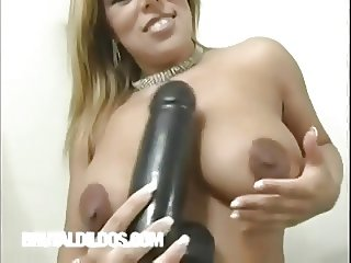 Thick blonde Roxy making herself cum with a fat dildo
