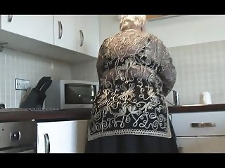 Sweet grandma shows hairy pussy big ass and her boobs