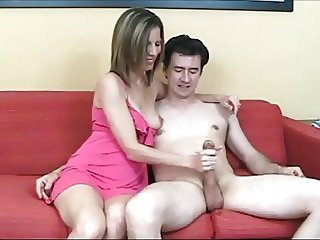 Hot MILF One Titty Out Handjob