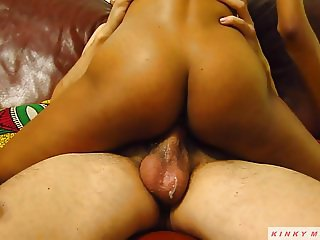 Sexy Ebony Riding Big White Cock & Creaming Pussy on Balls