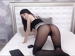 Girl puts on pantyhose at home 14