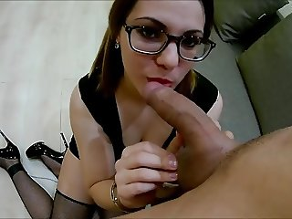 Handcuffed Beauty Deepthroat Blowjob & Cum in Mouth