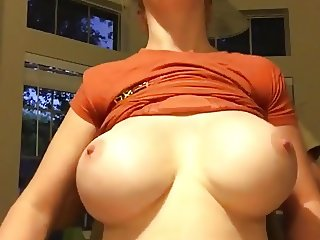 Huge Rack grabbed from behind.