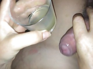 Pouring saved spunk over pussy and cock