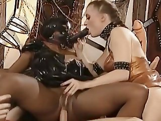 Hot blonde gets double penetrated by cock and ebony