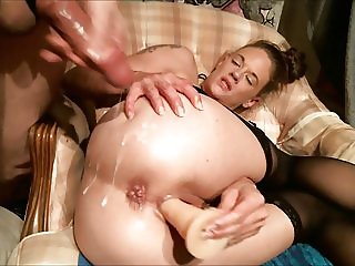 HOT MILF Dildo Squirting and Cumshot on Asshole