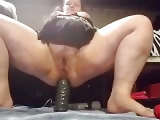 Babygirl's anal ride on a huge toy