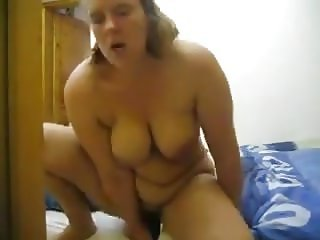 BBW masterbation on son's bed