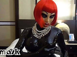 Latex orgasms RUBBER GIRL vibrator dildo pussy