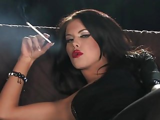 Brunette smoking + playing - HD