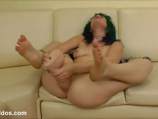 Insatiable Proxy Paige gaping her ass with brutal dildo