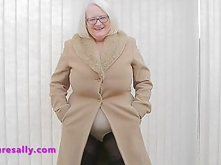 Under her fir coat is a big pantie girdle