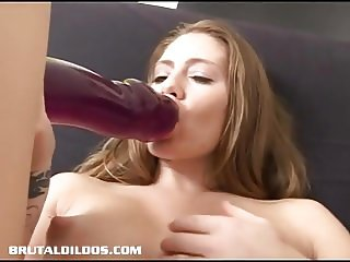 Sexy Jenna pleases her pierced pussy with a fat dildo