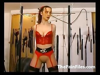Tied amateur sex slaves whipping and tit tortures of kinky s