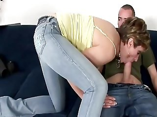 Lady Sonia Out Of Her Jeans Gets Cum On Her Ass