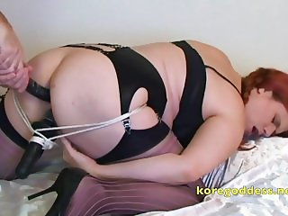 Ass and pussy full and playing with her clit