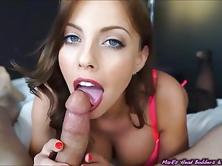 A young brunette gives a very sexy blowjob