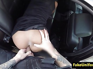Pulled busty uk babe analized in police car
