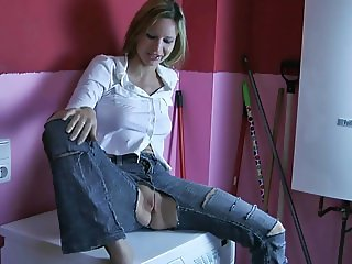 Blonde fucks in crotchless jeans