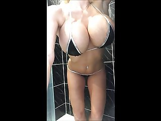 Sophie James takes a soapy shower huge tits milf