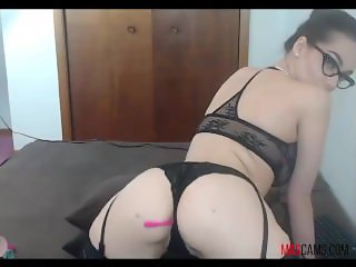Nerd girl with sexy ass having vibrator inside her wet pussy on webcam