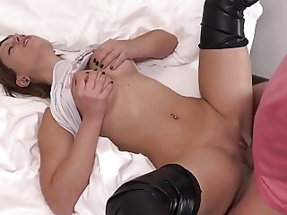 Teen Takes Anal Creampie in Latex Stockings