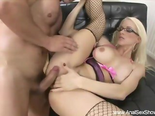 Blonde From France With Glasses Gets Deep Anal Sex