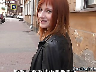 Redhead newbie banged at fake casting
