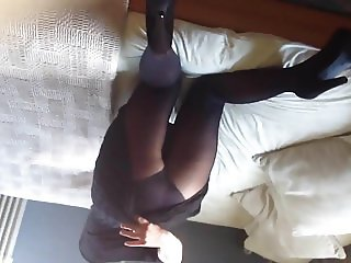 Horny british wife bending over and spreading
