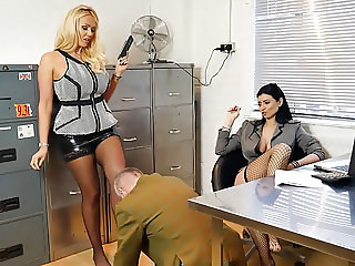 Sexy bosses turn office perv into nylon foot worship slave