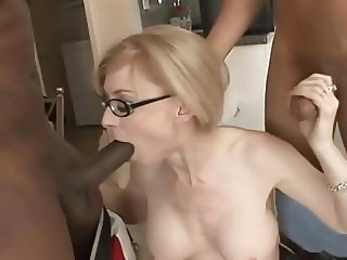Sexy mature pussy with two men