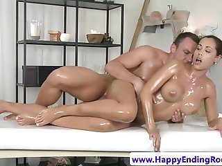 Bigtitted massage beauty fingered before bj
