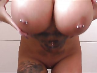Inked, pierced + long nailed - pussy shaving and toying
