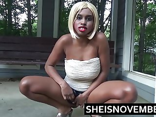 Pissing Ebony Girl Msnovember Squatting Peeing Public Walk