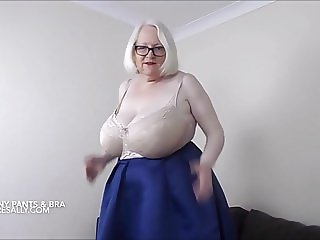 Granny takes off her granny pants and bra