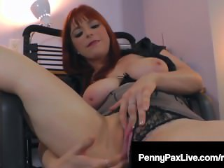 Red Headed Penny Pax Rubs Her Pussy Raw Late At the Office!