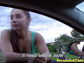 Picked up euro teen fisted on car