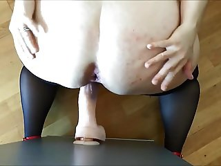 German hairy girl does big dildo deep anal penetration