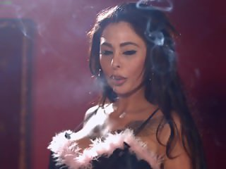 Busty Chloe Lexus smoking all white 100s cigarettes