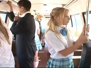 Blonde receives screwed on bus