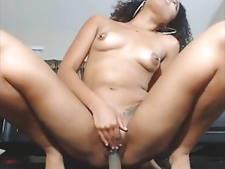 Pierced nipples Indian slut fucking herself til she squirts