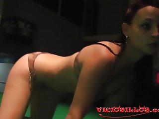 Kiara Rules hot strip pole dance on stage
