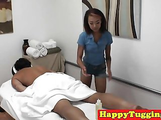 Beautiful inked masseuse wildly riding cock