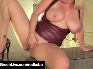Sexy Babe Maggie Green Hikes Up Dress & Rubs Her Wet Pussy!