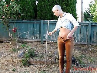 slave life Pants Pissing peeing outdoors